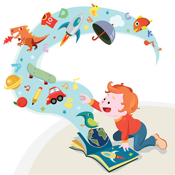 reading story book A little boy reading a book. storytelling stock illustrations