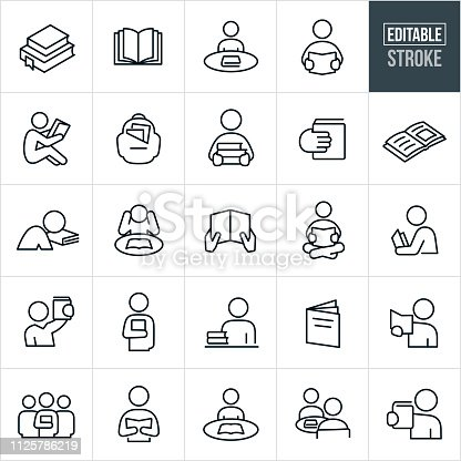 A set reading icons that include editable strokes or outlines using the EPS vector file. The icons include people reading, studying, books, text books, education, schooling and a backpack full of books to name a few.