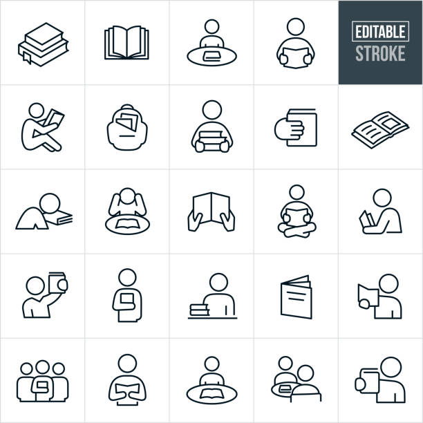 Reading Thin Line Icons - Editable Stroke A set reading icons that include editable strokes or outlines using the EPS vector file. The icons include people reading, studying, books, text books, education, schooling and a backpack full of books to name a few. book icons stock illustrations