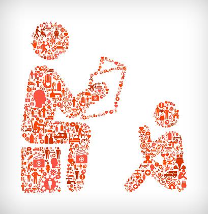 Reading to Child Flu Coronavirus Icon Pattern