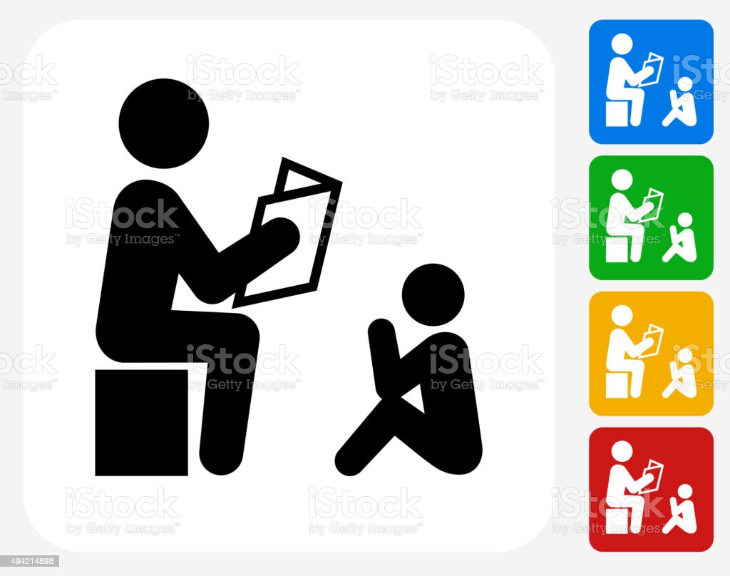Children Reading Stock Vector Art More Images Of Baby: Reading To Child Icon Flat Graphic Design Stock Vector Art