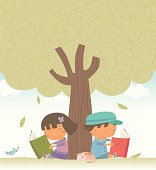 Children reading under the tree. The tree is completed and cropped with mask. Zip contains AI, PDF and hi-res Jpeg format.