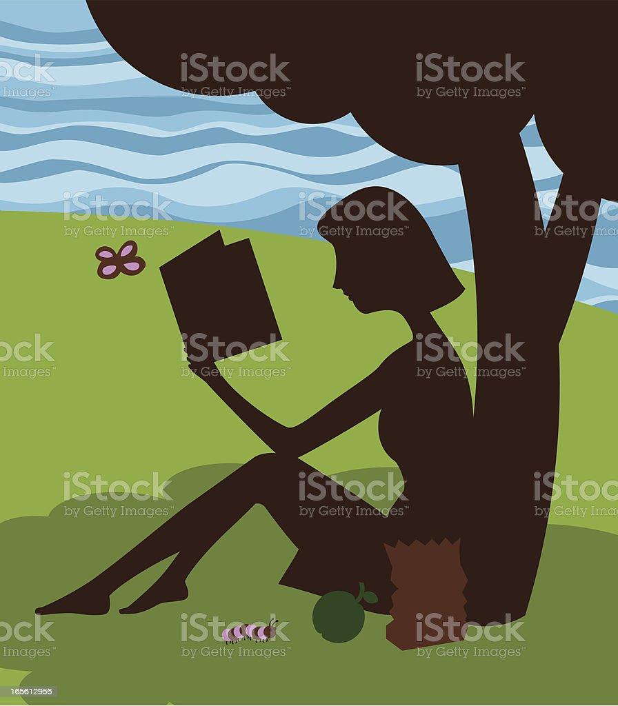 reading underneath the apple tree vector art illustration