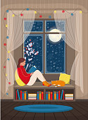 A girl reading a book on the windowsill. Cozy interior with a snow window,  bookshelf and with a cat. Vector illustration in flat cartoon style.
