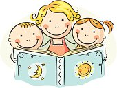 Mother and her two children are reading a book together.
