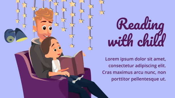 reading with child banner father read book to boy - bedtime story stock illustrations