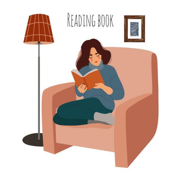 stockillustraties, clipart, cartoons en iconen met lezing vrouw thuis op stoel. meisje zittend op fauteuil met interessant boek. vector platte illustratie geïsoleerd op witte achtergrond. - woman home magazine
