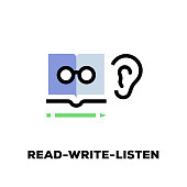 Read-Write-Listen Line Icon