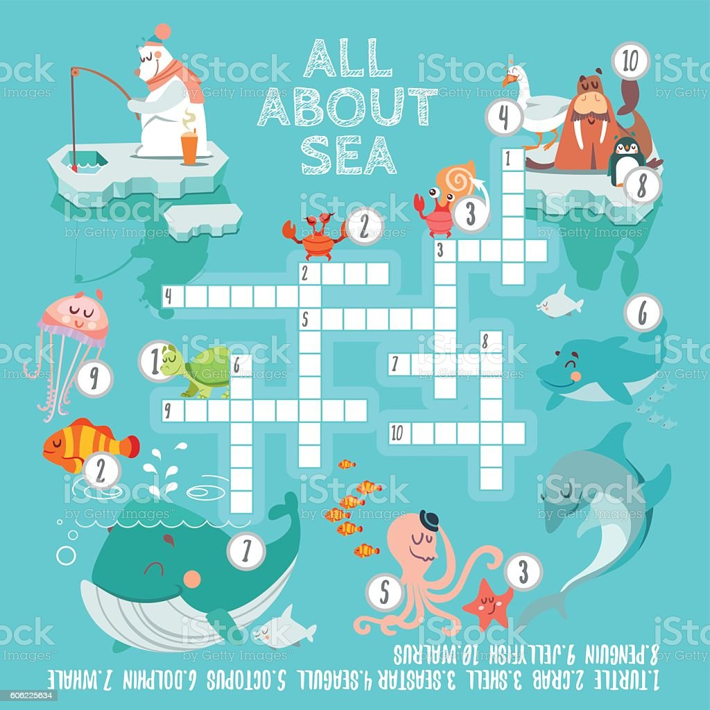 Ready crossword game about sea creatures vector art illustration