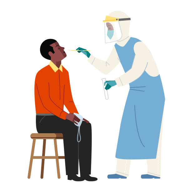 Ready for a swab test Man sitting ready for a virus test nasal swab stock illustrations