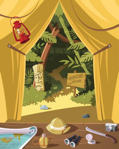ilustraciones, imágenes clip art, dibujos animados e iconos de stock de listo para la aventura en la jungla, equipo en tienda de campaña y la selva en fondo - viaje a sudamérica