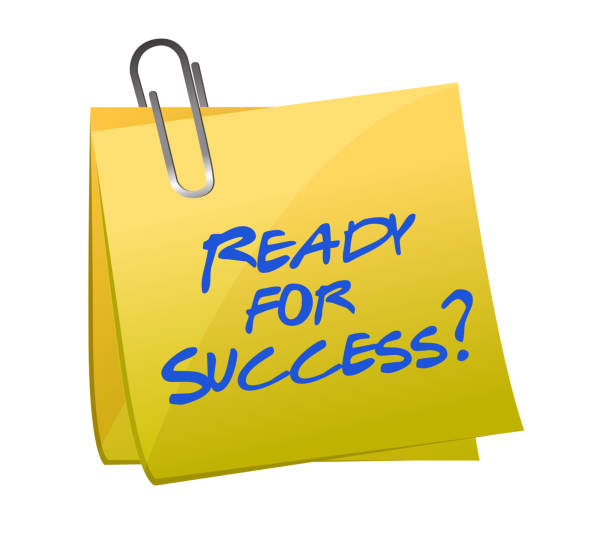ready for success question on a post illustration design - post it notes stock illustrations