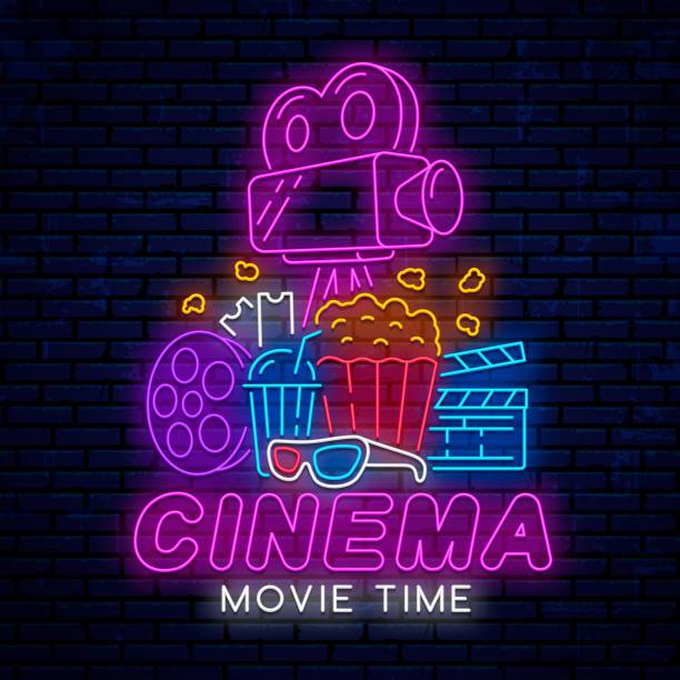 Ready neon signboard for cinema. Ready neon signboard for cinema. Bright modern design for advertising, posters and more. Logo, emblem, sign, icon in neon style for cinema. Movie logo. muziekfestival stock illustrations