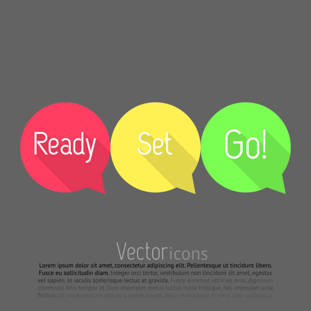 Ready, Set, Go! countdown. Vector talk bubble in three colors. Flat style design with long shadows. Ready, set, go! Ready, set, go icons on grey background arrange stock illustrations