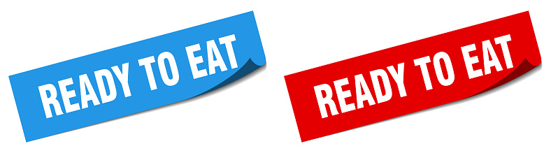 ready to eat paper peeler sign set. ready to eat sticker