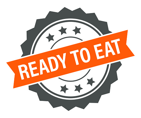 Ready to eat - Stamp, Imprint, Banner, Label, Ribbon Template. Vector Stock Illustration