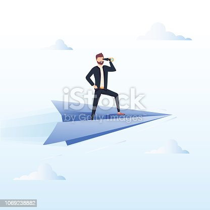 Ready to Fly. Business vector concept illustration. Winner business and achievement concept. Business success. Big trophy for businessmen. Ambition success, achievment motivation business background