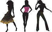 Fashion silhouettes with party textile patterns.