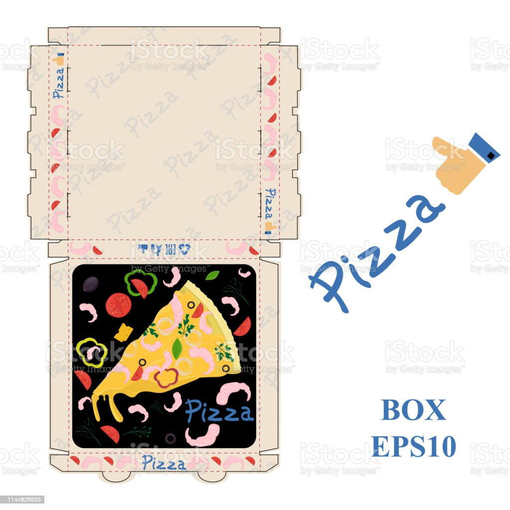 ready to print pizza food packaging box layout design vector EPS10
