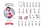 Ready-to-use business female clerk character set, different poses and emotions