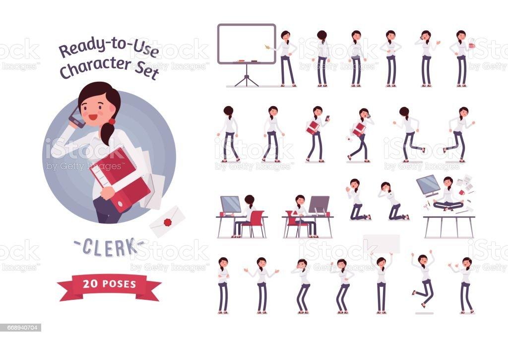 Conjunto de caracteres empleado femenino listo para su uso comercial, diferentes poses y emociones - ilustración de arte vectorial