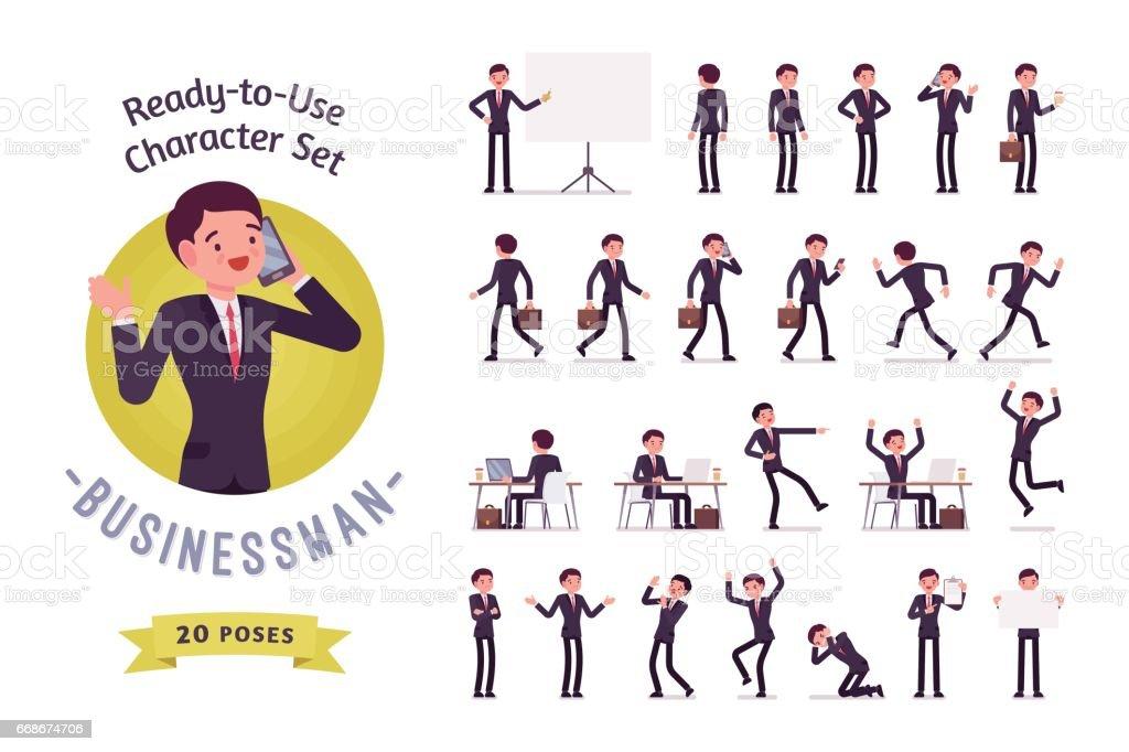 Conjunto de caracteres do homem de negócios prontos para uso, poses diferentes e emoções - ilustração de arte em vetor