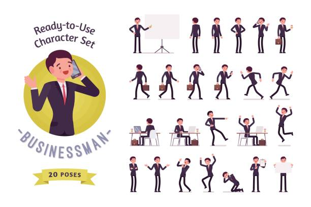 illustrazioni stock, clip art, cartoni animati e icone di tendenza di ready-to-use businessman character set, different poses and emotions - business man