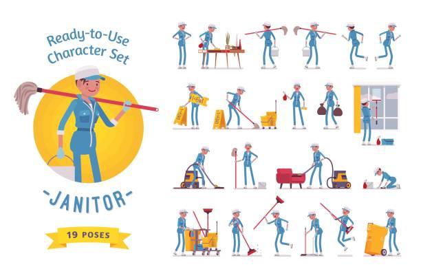 illustrazioni stock, clip art, cartoni animati e icone di tendenza di ready-to-use female janitor character set, various poses and emotions - addetto alle pulizie