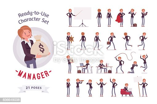 Ready-to-use character set. Young female manager, formal wear. Different poses and emotions, running, standing, sitting, walking, happy, angry. Full length, front, rear view against white background