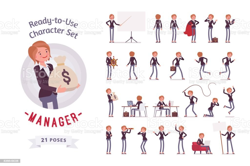 Ready-to-use female manager character set, different poses and emotions vector art illustration