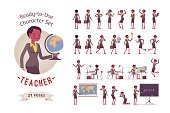 Ready-to-use character set. Female young teacher in formal wear. Different poses and emotions, running, standing, sitting, walking, happy, angry. Full length, front, rear view against white background