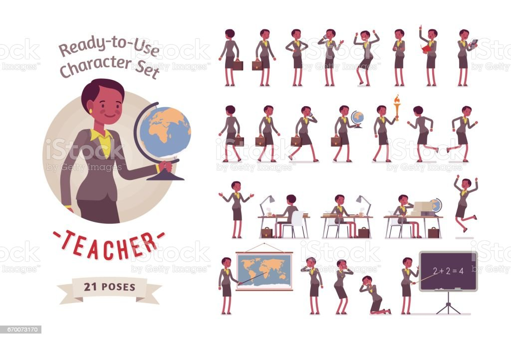 Ready-to-use female teacher character set, different poses and emotions vector art illustration