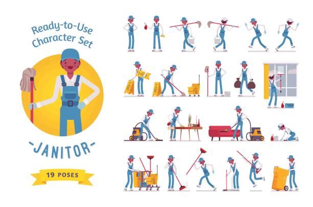 illustrazioni stock, clip art, cartoni animati e icone di tendenza di ready-to-use male janitor character set, various poses and emotions - addetto alle pulizie