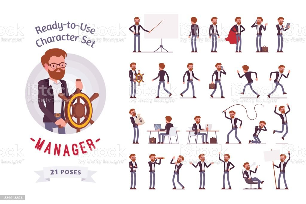 Ready-to-use male manager character set, different poses and emotions vector art illustration