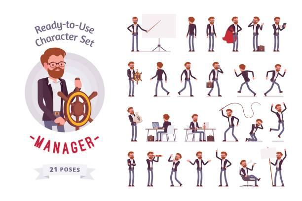 illustrazioni stock, clip art, cartoni animati e icone di tendenza di ready-to-use male manager character set, different poses and emotions - rabbia emozione negativa
