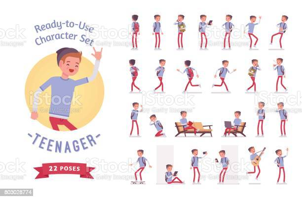 Readytouse teenager boy character set various poses and emotions vector id803028774?b=1&k=6&m=803028774&s=612x612&h=hvdxyjlmnunmtvin leuzdi6cu89qp2f1cnp vjipbm=