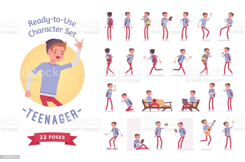 Ready-to-use teenager boy character set, various poses and emotions vector art illustration