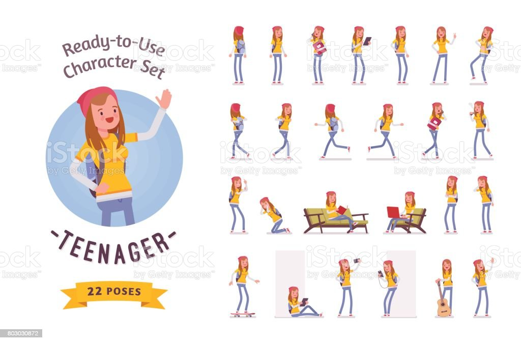 Ready-to-use teenager girl character set, various poses and emotions vector art illustration