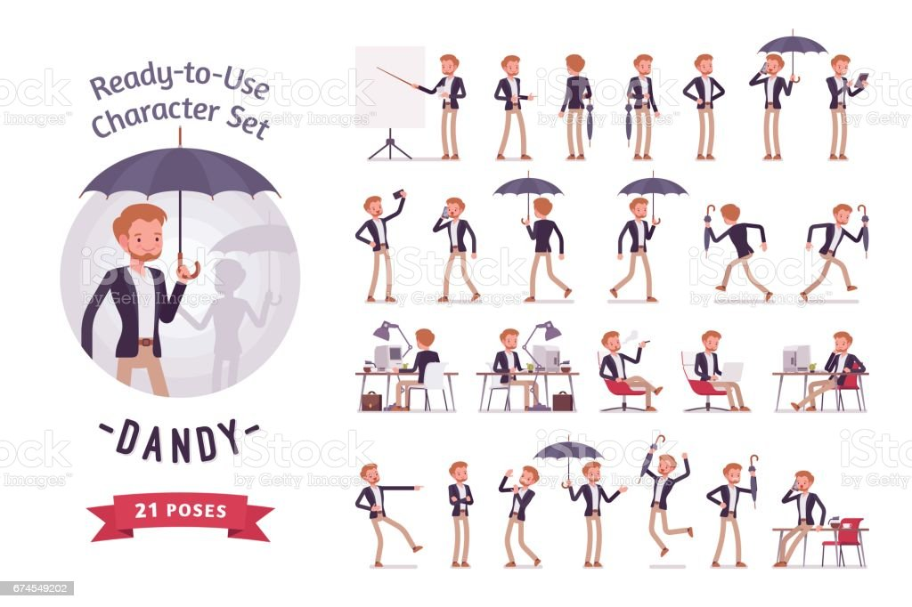 Ready-to-use young dandy character set, different poses and emotions vector art illustration