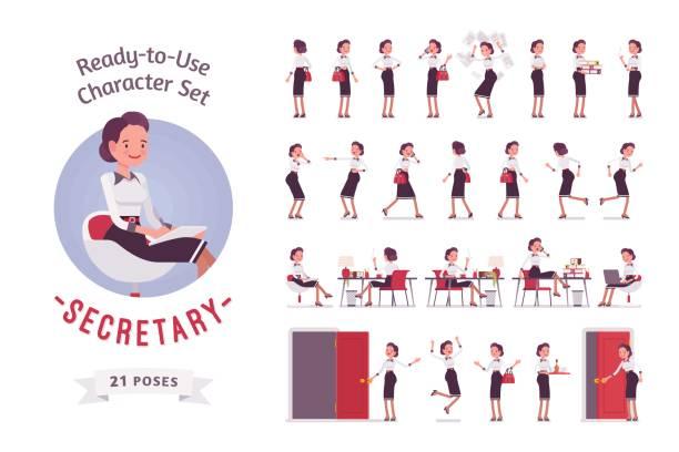 ready-to-use junge weibliche sekretärin zeichensatz, verschiedenen posen und emotionen - rezeptionseingang stock-grafiken, -clipart, -cartoons und -symbole