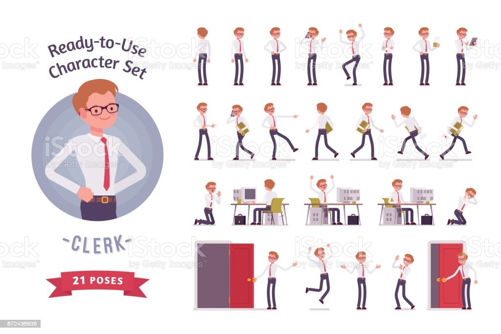 Ready-to-use young male clerk character set, different poses and emotions vector art illustration