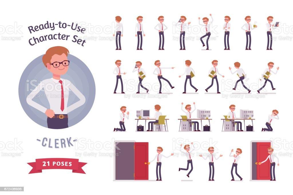Juego de caracteres empleado masculino joven listo para su uso, diferentes poses y emociones - ilustración de arte vectorial
