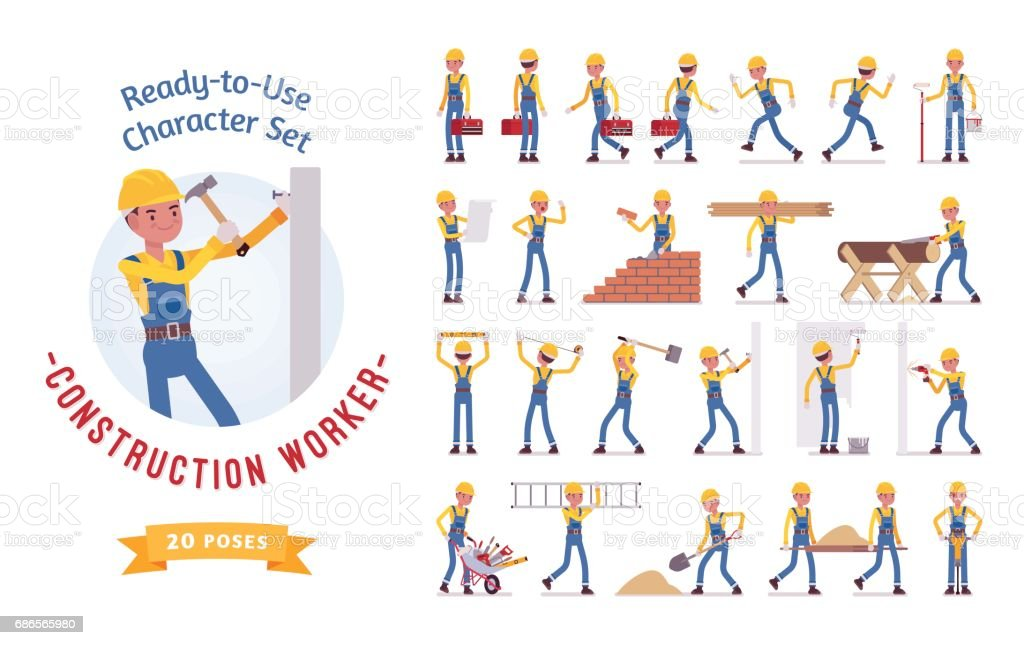 Ready-to-use young male worker character set, various poses and emotions vector art illustration