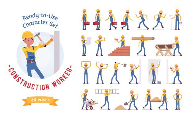 ilustraciones, imágenes clip art, dibujos animados e iconos de stock de joven trabajador hombre listo para su uso conjunto de caracteres, varias poses y emociones - obrero de la construcción
