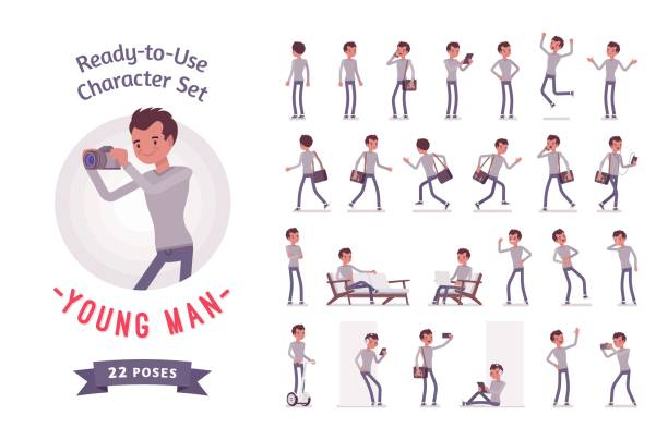 Ready-to-use young man character set, various poses and emotions Ready-to-use character set. Young man, casual, skinny jeans, messenger bag, Various poses and emotions, running, standing, walking, working. Full length, front, rear view, isolated, white background preparation illustrations stock illustrations