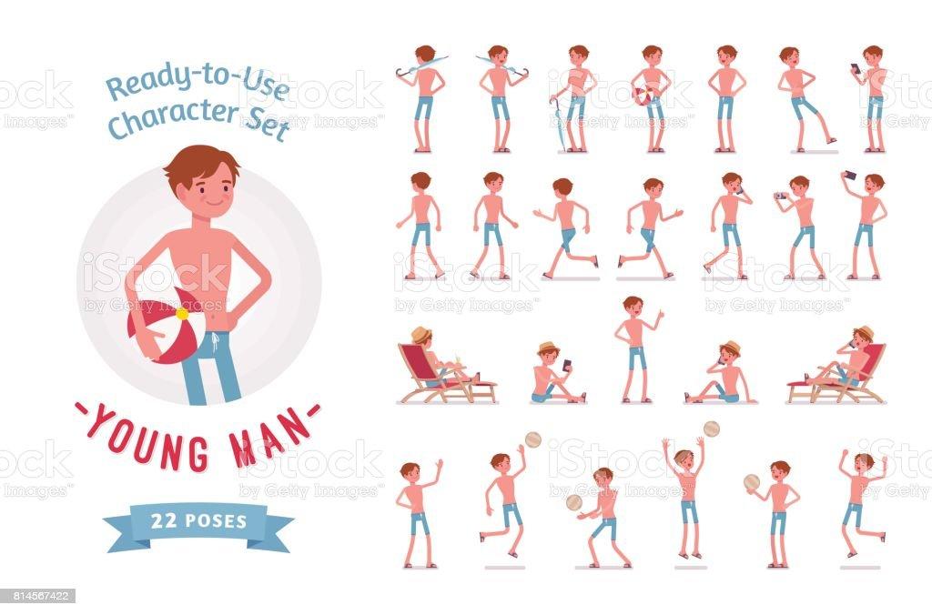 Ready-to-Use Jüngling in Badebekleidung Zeichensatz, verschiedenen Posen und Emotionen – Vektorgrafik
