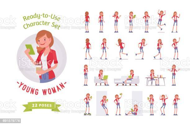 Readytouse young woman character set various poses and emotions vector id691579776?b=1&k=6&m=691579776&s=612x612&h=eunfr9n6o07qdi40qx4otx qvfqbv xsr2iqui5fq1e=