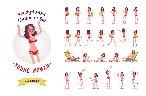 Ready-to-use young woman in swimwear character set, various poses and emotions