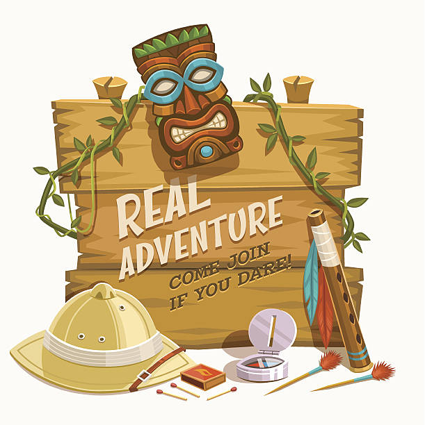 stockillustraties, clipart, cartoons en iconen met real adventure. vector illustration. - safari