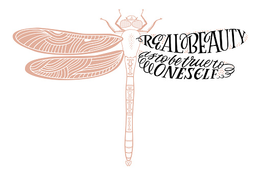 Real beauty is to be true to oneself - hand drawn lettering quote in dragonfly silhouette. Vector illustration for t-shirt design, poster or tattoo